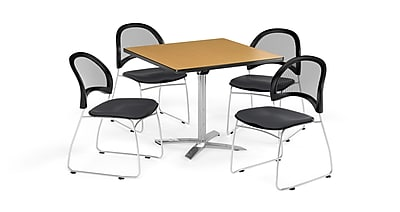 OFM 42 Inch Square Flip Top Oak Table and Four Slate Gray Chairs (PKG-BRK-172-0060)