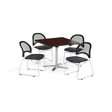 OFM 42 Inch Square Flip Top Mahogany Table and Four Slate Gray Chairs (PKG-BRK-172-0044)