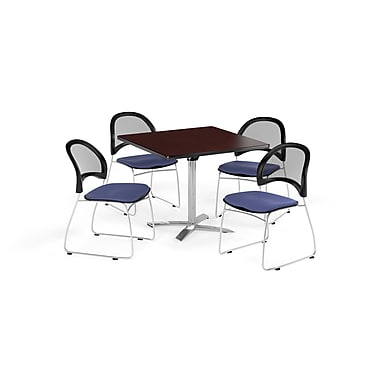 OFM 42 Inch Square Flip Top Mahogany Table and Four Colonial Blue Chairs (PKG-BRK-172-0036)