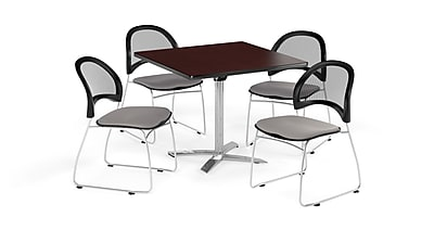 OFM 42 Inch Square Flip Top Mahogany Table and Four Putty Chairs (PKG-BRK-172-0046)