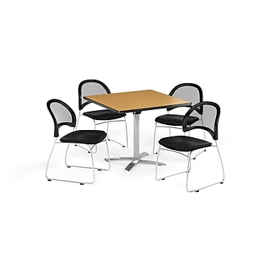 OFM 42 Inch Square Flip Top Oak Table and Four Black Chairs (PKG-BRK-172-0064)