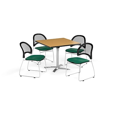 OFM 42 Inch Square Flip Top Oak Table and Four Shamrock Green Chairs (PKG-BRK-172-0049)