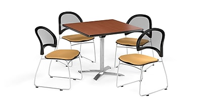 OFM 42 Inch Square Flip Top Cherry Table and Four Golden Flax Chairs (PKG-BRK-172-0005)