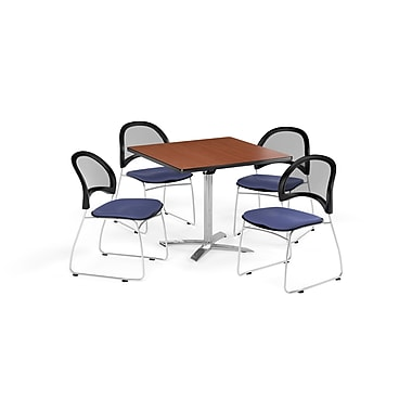 OFM 42 Inch Square Flip Top Cherry Table and Four Colonial Blue Chairs (PKG-BRK-172-0004)