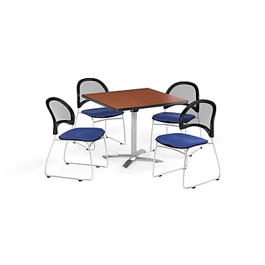OFM 42 Inch Square Flip Top Cherry Table and Four Royal Blue Chairs (PKG-BRK-172-0010)