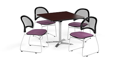 OFM 42 Inch Square Flip Top Mahogany Table and Four Plum Chairs (PKG-BRK-172-0045)