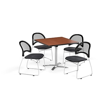 OFM 42 Inch Square Flip Top Cherry Table and Four Slate Gray Chairs (PKG-BRK-172-0012)
