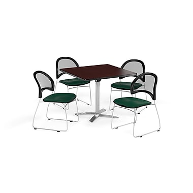 OFM 42 Inch Square Flip Top Mahogany Table and Four Forest Green Chairs (PKG-BRK-172-0047)
