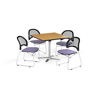 OFM 42 Inch Square Flip Top Oak Table and Four Lavender Chairs (PKG-BRK-172-0050)
