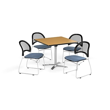 OFM 42 Inch Square Flip Top Oak Table and Four Cornflower Blue Chairs (PKG-BRK-172-0054)