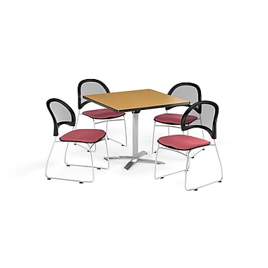 OFM 42 Inch Square Flip Top Oak Table and Four Coral Pink Chairs (PKG-BRK-172-0056)
