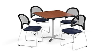OFM 42 Inch Square Flip Top Cherry Table and Four Navy Chairs (PKG-BRK-172-0003)
