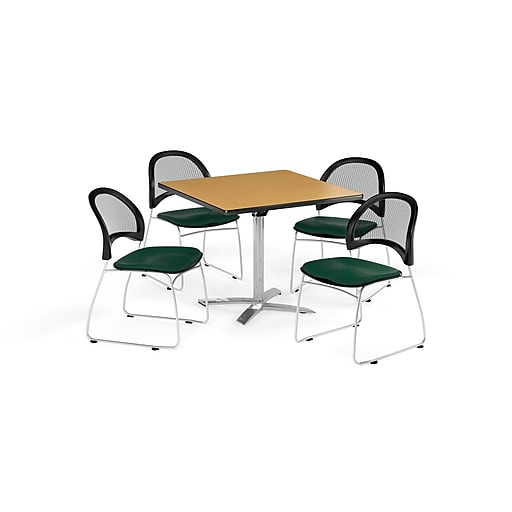 OFM 42 Inch Square Flip Top Oak Table and Four Forest Green Chairs (PKG-BRK-172-0063)
