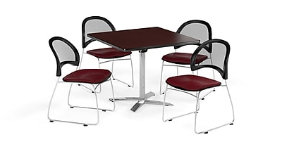 OFM 42 Inch Square Flip Top Mahogany Table and Four Burgundy Chairs (PKG-BRK-172-0043)