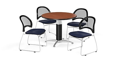 OFM 36 Inch Round Mesh Base Cherry Table and Four Navy Chairs (PKG-BRK-173-0003)