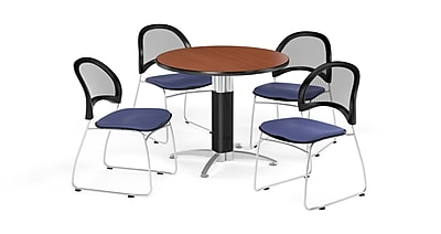 OFM 36 Inch Round Mesh Base Cherry Table and Four Colonial Blue Chairs (PKG-BRK-173-0004)