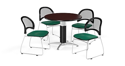 OFM 36 Inch Round Mesh Base Mahogany Table and Four Shamrock Green Chairs (PKG-BRK-173-0033)