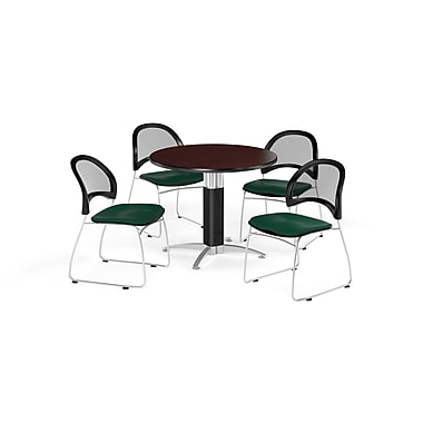 OFM 36 Inch Round Mesh Base Mahogany Table and Four Forest Green Chairs (PKG-BRK-173-0047)