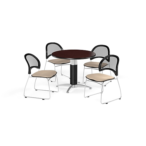 OFM 36 Inch Round Mesh Base Mahogany Table and Four Khaki Chairs (PKG-BRK-173-0041)