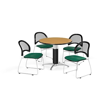 OFM 36 Inch Round Mesh Base Oak Table and Four Shamrock Green Chairs (PKG-BRK-173-0049)