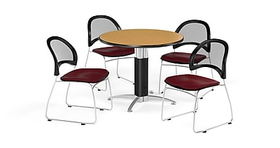 OFM 36 Inch Round Mesh Base Oak Table and Four Burgundy Chairs (PKG-BRK-173-0059)