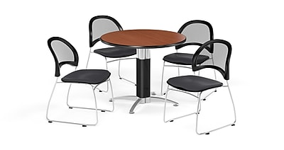 OFM 36 Inch Round Mesh Base Cherry Table and Four Slate Gray Chairs (PKG-BRK-173-0012)