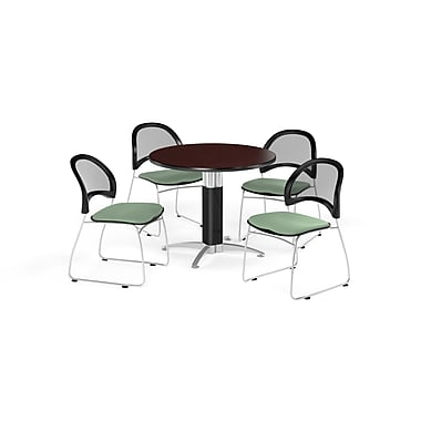 OFM 36 Inch Round Mesh Base Mahogany Table and Four Sage Green Chairs (PKG-BRK-173-0039)