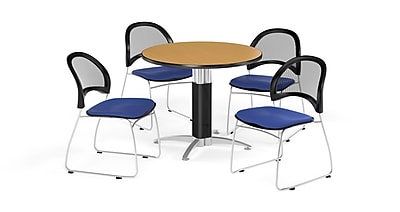 OFM 36 Inch Round Mesh Base Oak Table and Four Royal Blue Chairs (PKG-BRK-173-0058)