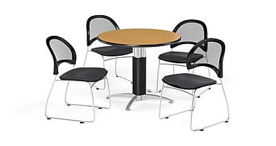 OFM 36 Inch Round Mesh Base Oak Table and Four Slate Gray Chairs (PKG-BRK-173-0060)