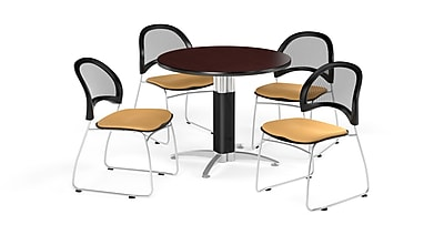 OFM 36 Inch Round Mesh Base Mahogany Table and Four Golden Flax Chairs (PKG-BRK-173-0037)