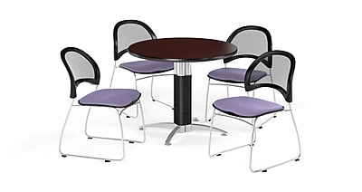 OFM 36 Inch Round Mesh Base Mahogany Table and Four Lavender Chairs (PKG-BRK-173-0034)