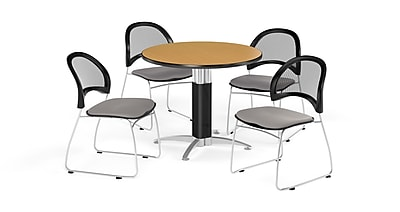 OFM 36 Inch Round Mesh Base Oak Table and Four Putty Chairs (PKG-BRK-173-0062)