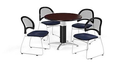 OFM 36 Inch Round Mesh Base Mahogany Table and Four Navy Chairs (PKG-BRK-173-0035)