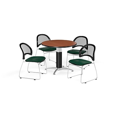 OFM 36 Inch Round Mesh Base Cherry Table and Four Forest Green Chairs (PKG-BRK-173-0015)