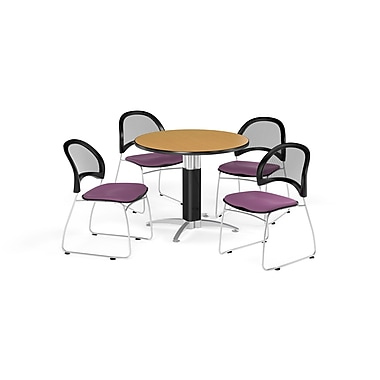 OFM 36 Inch Round Mesh Base Oak Table and Four Plum Chairs (PKG-BRK-173-0061)
