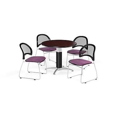 OFM 36 Inch Round Mesh Base Mahogany Table and Four Plum Chairs (PKG-BRK-173-0045)