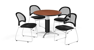 OFM 36 Inch Round Mesh Base Cherry Table and Four Black Chairs (PKG-BRK-173-0016)