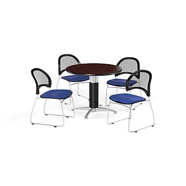 OFM 36 Inch Round Mesh Base Mahogany Table and Four Royal Blue Chairs (PKG-BRK-173-0042)