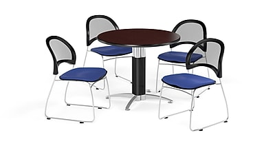 OFM 36 Inch Round Metal Mesh Base Mahogany Table with Four Royal Blue Chairs (PKG-BRK-173-0042)