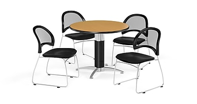 OFM 36 Inch Round Mesh Base Oak Table and Four Black Chairs (PKG-BRK-173-0064)
