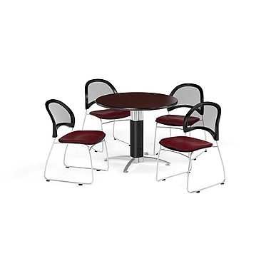 OFM 36 Inch Round Mesh Base Mahogany Table and Four Burgundy Chairs (PKG-BRK-173-0043)