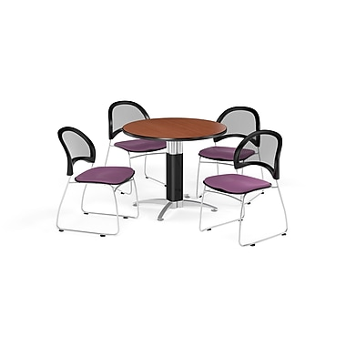OFM 36 Inch Round Mesh Base Cherry Table and Four Plum Chairs (PKG-BRK-173-0013)