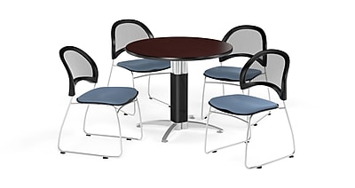 OFM 36 Inch Round Mesh Base Mahogany Table and Four Cornflower Blue Chairs (PKG-BRK-173-0038)