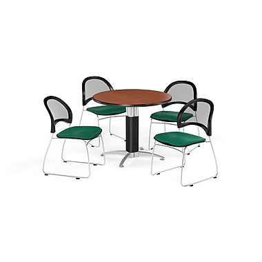 OFM 36 Inch Round Mesh Base Cherry Table and Four Shamrock Green Chairs (PKG-BRK-173-0001)