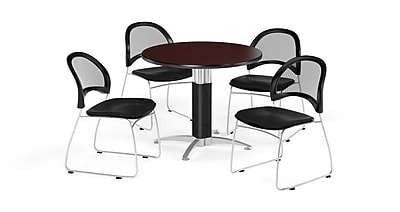 OFM 36 Inch Round Mesh Base Mahogany Table and Four Black Chairs (PKG-BRK-173-0048)
