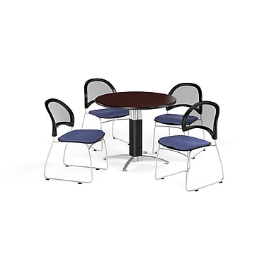 OFM 36 Inch Round Mesh Base Mahogany Table and Four Colonial Blue Chairs (PKG-BRK-173-0036)