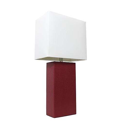 Elegant Designs Incandescent Leather Table Lamp, Red (LT1025-RED)