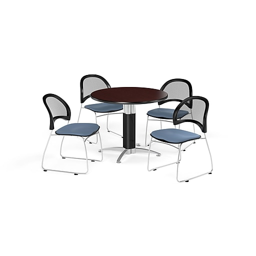 OFM 42 Inch Round Mesh Base Mahogany Table and Four Cornflower Blue Chairs (PKG-BRK-175-0038)
