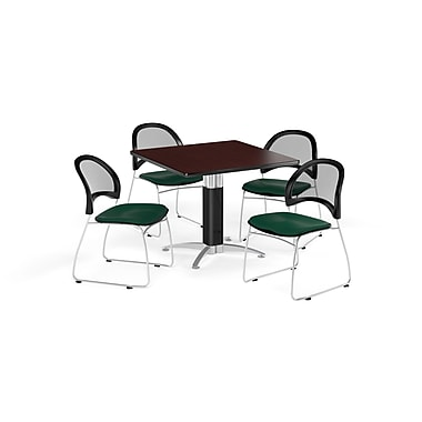 OFM 36 Inch Square Mesh Base Mahogany Table and Four Forest Green Chairs (PKG-BRK-174-0047)