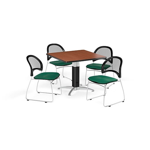 OFM 36 Inch Square Mesh Base Cherry Table and Four Shamrock Green Chairs (PKG-BRK-174-0001)